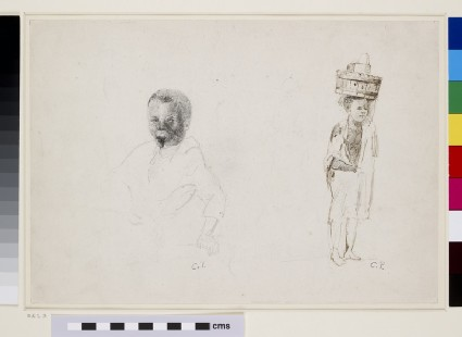 Recto: Two Studies of a young Boy with faint indications of a female figure<br />Verso: Whole-length Study of a small Boy with faint Studies of his face and his left leg seen from the back