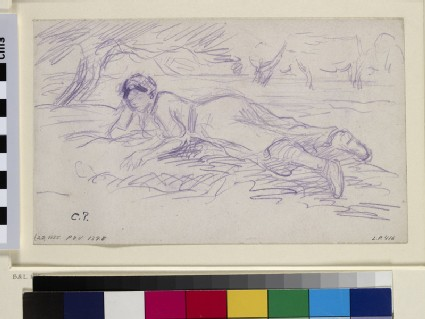 Study for 'Female cowherd lying on the grass'