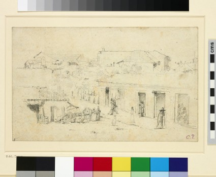 Recto: A Street in Venezuela<br />Verso: Various figure Studies with a Tree and Buildings