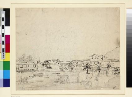Recto: View of La Guaira<br />Verso: Study of a male Peasant