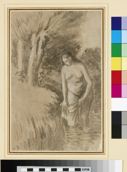 Study of a female bather in a wooded landscape