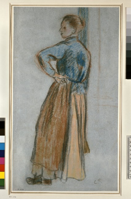 Study of a young woman standing with left hand on hip leaning against a window