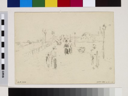 Recto: Study of a promenade at Dieppe<br />Verso: Five brief studies of standing female figures