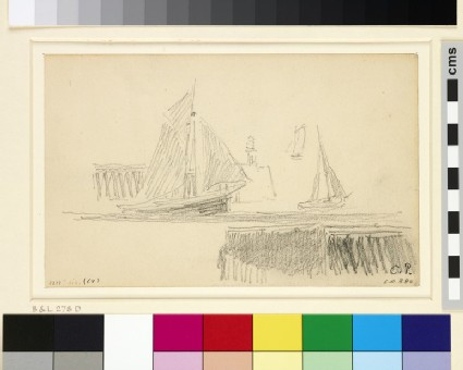 Study of three sailing boats at the entrance to the harbour, Le Havre