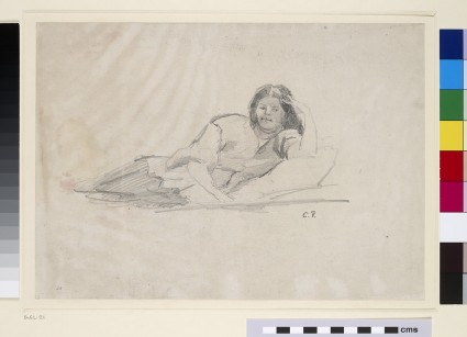 Study of a reclining female Figure leaning on her left Elbow