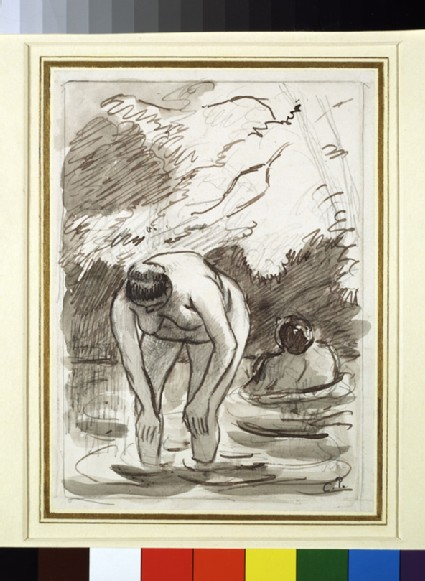 Compositional study of two female bathers in a wooded landscape