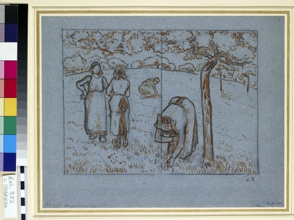 Compositional study of four female peasants working in an orchard ('Spring')