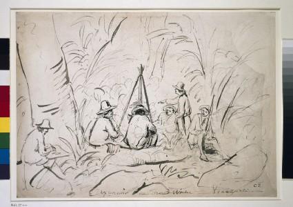Recto: Excursion au Mont Avila, Venezuela Verso: An Artist sketching a Camping Scene