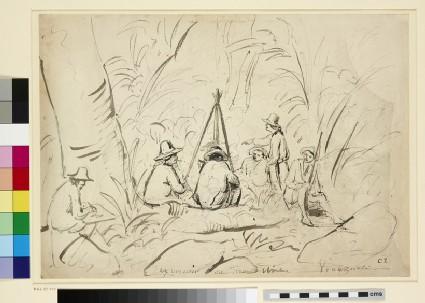 Recto: Excursion au Mont Avila, Venezuela<br />Verso: An Artist sketching a Camping Scene