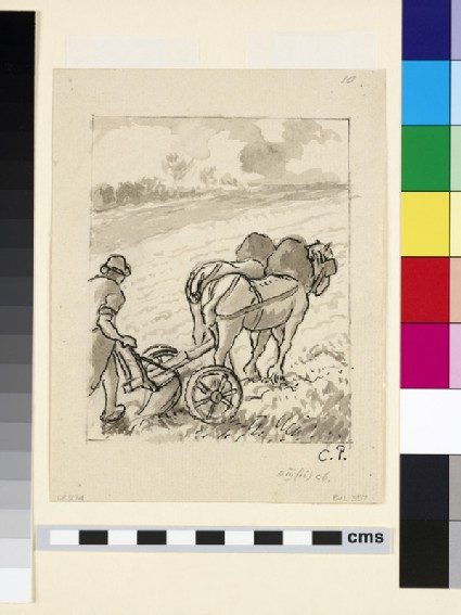 Compositional study of a peasant ploughing a field