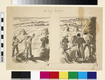 Compositional study harvesters working in a field (I and II)