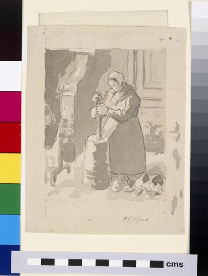 Compositional study of a female peasant making butter