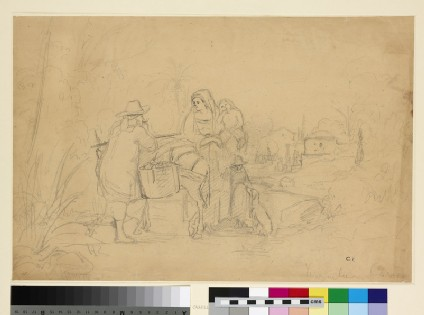Recto: Compositional Study of a Peasant Family with a Donkey in a Landscape