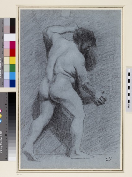 Study of a male Nude posed against a Wall seen in profile facing right