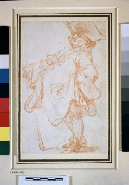 Caricature of a fat man, leaning on a cane, facing left