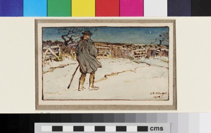 Man with a stick in a snowy landscape