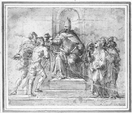Recto: St Antoninus, Archbishop of Florence, distributing Alms to Supplicants