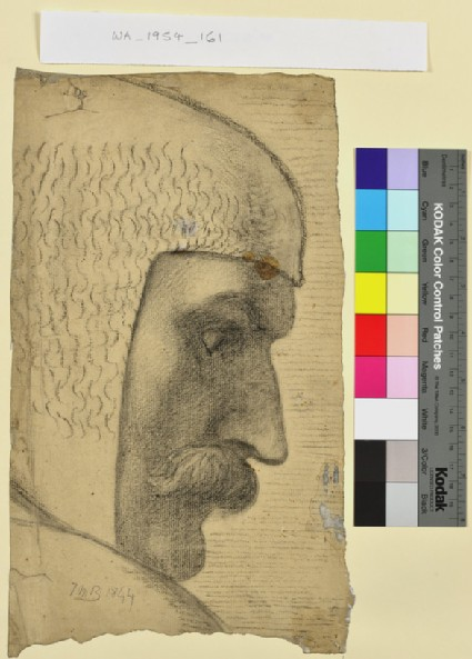 Head of a knight in a chainmail hood, study for the 'Spirit of Justice'