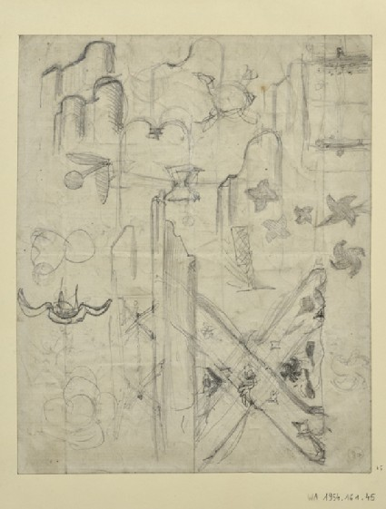 Recto and verso: Studies for Metalwork and a Table