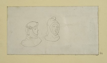 Outline of Two Heads in Medieval Head-dresses