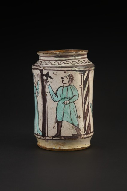 Pharmacy jar, or albarello with a centaur-like creature