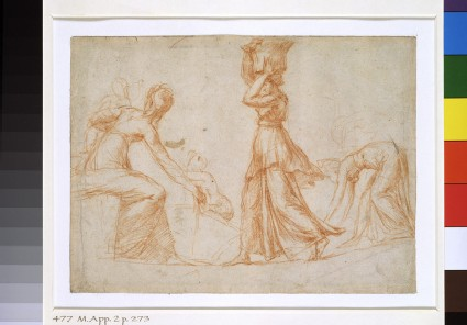 Recto: Composition with three female Figures<br />Verso: Various slight Studies of a nude Boy