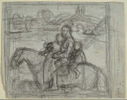 Recto: Preparatory study for 'Sir Isumbras at the Ford'<br />Verso: slight sketches