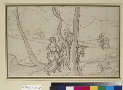 Italian Landscape with Peasants on a winding Track