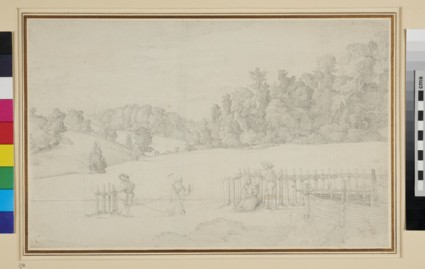 Wooded Landscape near Vienna, with Peasants by a Fence
