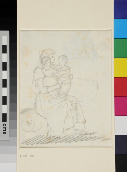 Recto: A seated Italian peasant Woman holding two Children on her Lap