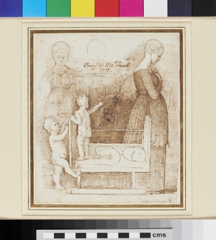 Recto: Studies of a Mother and two Children and their Cot