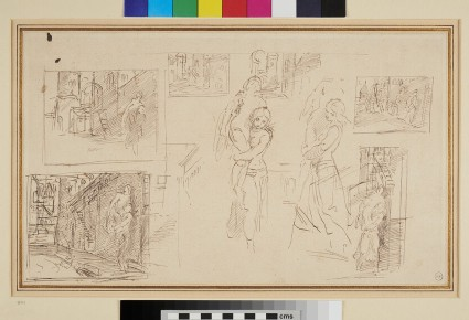 Recto: Studies for 'Conrad III and the Women of Weinsberg' <br />Verso: Eight Studies for 'Eginhard and Emma'