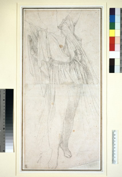 Drapery study for a woman, standing with arms raised
