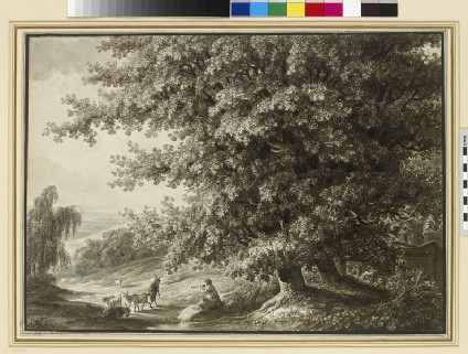 Landscape with two large Oak Trees and a piping Goatherd