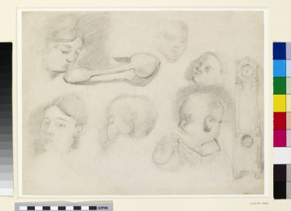 Recto: Studies of a child's head, a woman's head, a spoon, and a longcase clock<br />Verso: print of two horses' heads from a drawing manual by Hippolyte Lalaisse