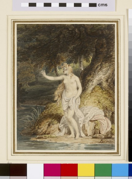 Woman bathing in a wooded Stream