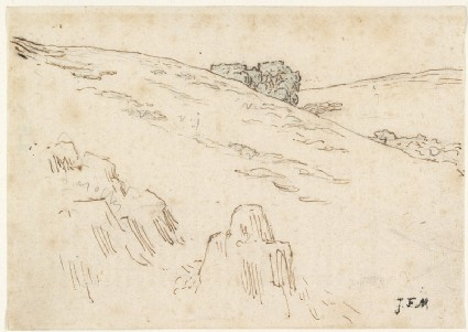 A hillside with foreground rocks and a clump of trees, upper centre