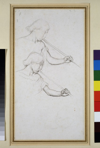 Recto: Two studies for the head of an angel blowing a trumpet<br />Verso: Study of drapery for a figure, blowing a trumpet, walking to right