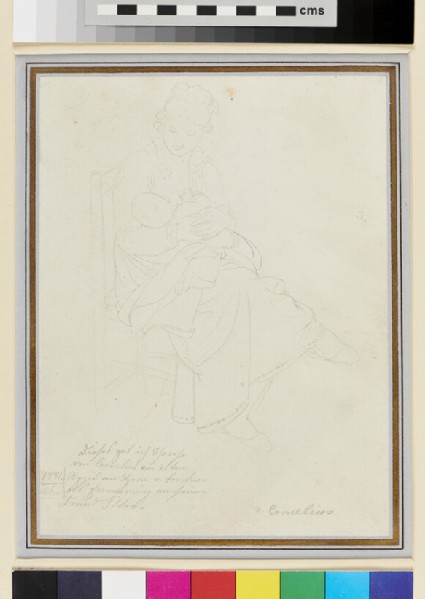 Recto: A seated Woman suckling her Baby <br />Verso: A Painter with his Family and a Study of an Artist