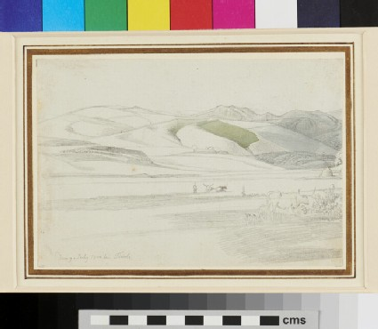 Recto: Landscape with Oxen near Tivoli <br />Verso: Studies of a Woman in Italian regional Costume