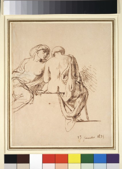 Two seated female figures