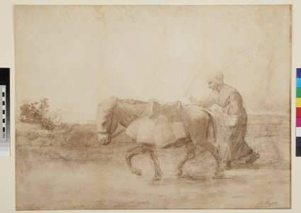 Peasant Woman driving a Donkey with four Barrels fixed to its Saddle