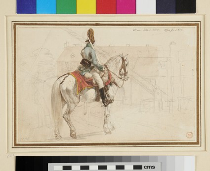 Recto: Viennese Military Policeman on Horseback <br />Verso: Soldier and Civilians