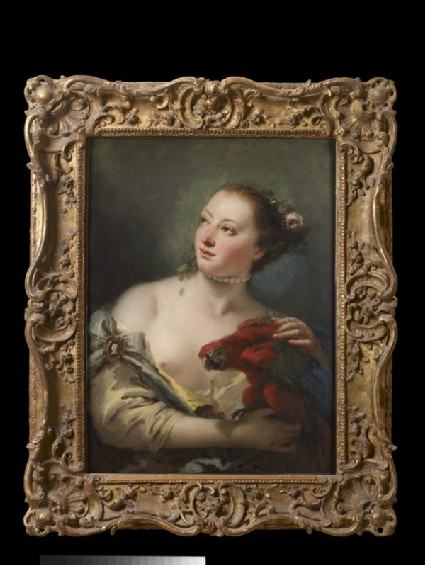 A young Woman with a Macaw