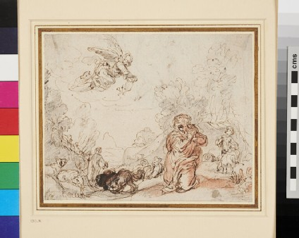Recto: The Angel appearing to Joachim <br />Verso: Studies for a Joachim and Anna