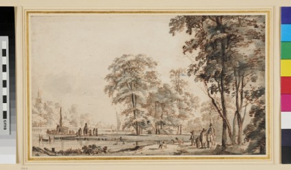 Wooded Landscape with Figures by a River