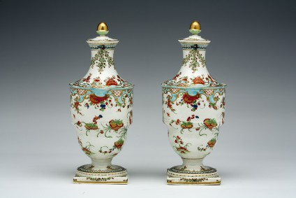 Vase candlestick, or cassolette, one of a pair
