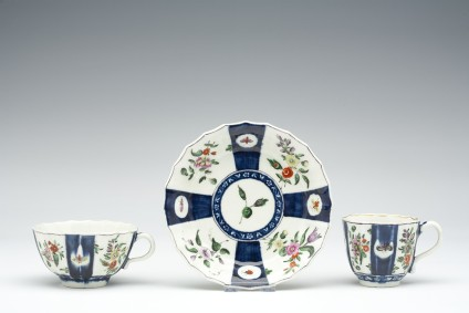 Teacup, coffee cup and saucer