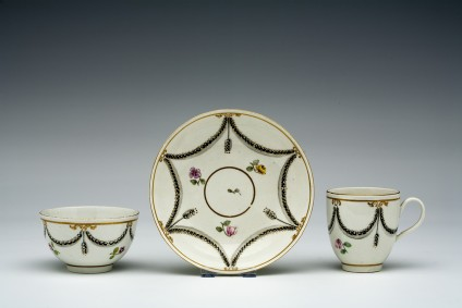 Tea bowl, coffee cup and saucer