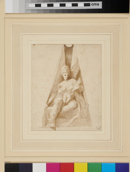 Apollo (or Orpheus) with a lyre, seated within a triangular niche